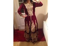 Maroon and gold asian wedding party dress