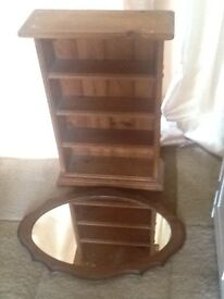 Up cycling. Pine shelving unit and vintage oak mirror
