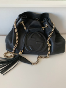 Gucci Black Soho  Leather Tote Bag w/ Chain Straps and Tassel