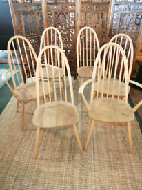 Ercol Quaker Dining Chairs x6 including 2 Carvers
