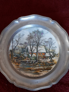 Rare , Four Seasons Currier & Ives plates, set in Pewter Frames