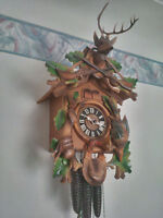 Black Forest Carved Cuckoo Clock - beautiful colours