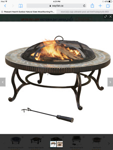 Natural slate wood burning fire pit