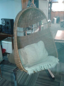 Mid Century Hanging Wicker Cocoon Chair