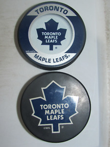2 TORONTO MAPLE LEAFS OFFICIAL HOCKEY PUCKS