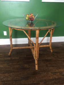 vintage boho rattan bamboo round dining table