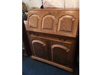 Large oak bureau / writing desk