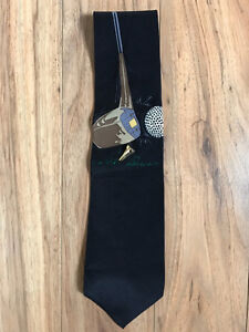 Unique Men's Golf Tie with elevated gold tee