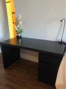 Black desk (Ikea Malm) with black leather office chair