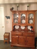 Wooden display cabinet with light
