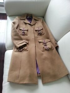 Size XXS - S Chic military style taupe knee-length wool coat