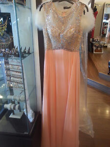 Prom/Gala Dress - Peach with Shimmer on Top
