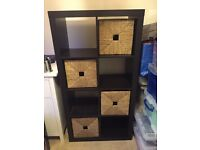 IKEA Expedit Kallax 8 cube storage system in black brown with boxes included