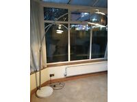 Marble base, large arch floor lamp