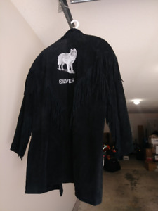 Black suede leather jacket , western style
