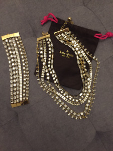 Authentic Kate Spade Gold & Crystal Necklace and cuff bracelet