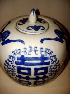 CHINESE BLUE & WHITE GINGER JAR double happiness symbols LARGE Kitchener / Waterloo Kitchener Area image 2