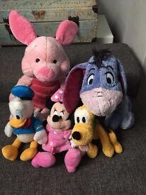 Minnie Pluto Donald Eeyore Piglet Official Disney Soft Plush Toys bundle