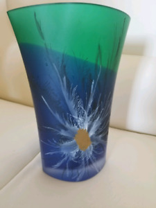 Green- blue Glass flower vase