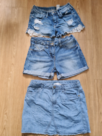 Girls Denim Shorts and Skirt Age 8 to 9 years