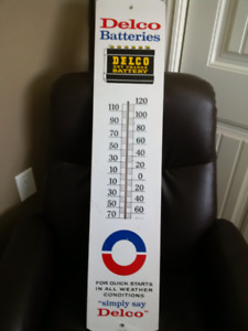 Thermometer ,1965 Delco Dry Charge Battery sign  (working)