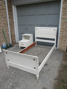 Vintage Antique White Single Bed and Nightstand