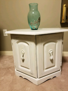 White chalk painted octagon antique decorative  2 door cabinet t
