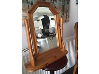 Wooden Pine Dressing Table Mirror