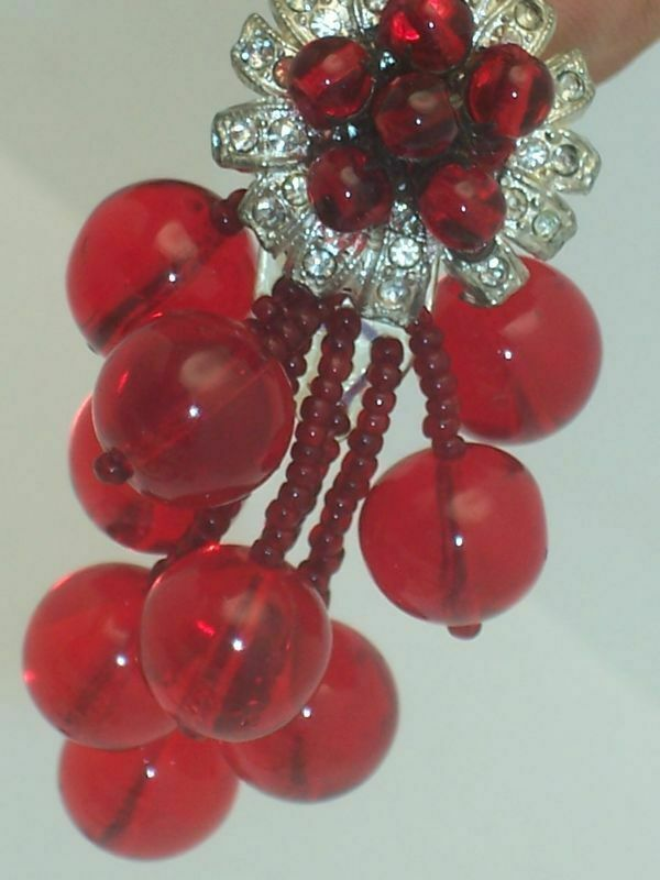 Miriam Haskell Red Glass Bead Dress Clip & Earrings