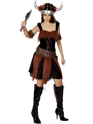 Adult Viking Woman Fancy Dress Book Day Party Costume Warrior Outfit + - Viking Warrior Woman Costume