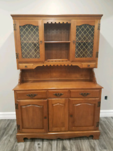 "Petite hardwood hutch in ""pristine"" condition"