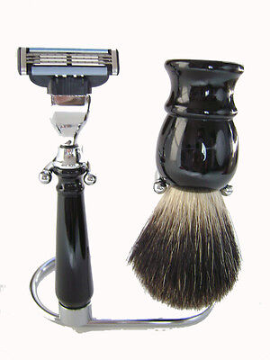 Badger Hair Shaving Brush, 3 Edge Black Shaving Set With Stand for sale  Shipping to India