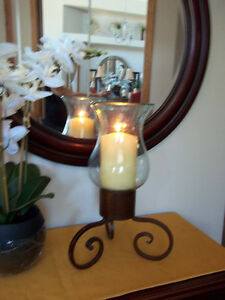 Heavy Cast Iron and thick glass candle holder