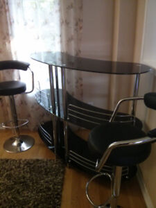 Contemporary Modern Home  Liquor Bar Table and two bar stools