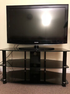 Samsung TV and glass stand