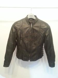 Ensemble manteau et pantalon en cuir Icon moto pour femme