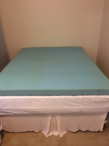 Queen bed, boxspring, frame, memory foam topper