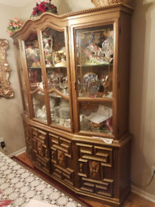 1960s GOLDEN FRENCH HUTCH, CABINET SOLD TOGETHER OR SEPARATELY