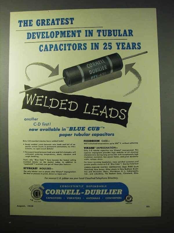 1950 Cornell-Dubilier Tubular Capacitors Ad