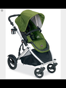 Army Green Britax B-Ready Stroller with scooter board