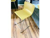 Set of 2 Yellow Leather Barstools