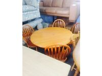 As new pine table and 4 chairs