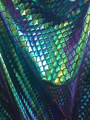 Mermaid Fish Scales Purple, Green,Gold And Turquoise Sold By Yard - Purple Green And Gold