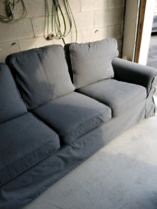 3 seater ektorp sofa couch + 2 covers red and grey