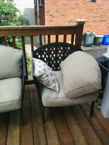 4 piece patio conversation set with beige cuahions