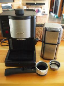 Delonghi expresso machine & Cuisinart bean grinder set