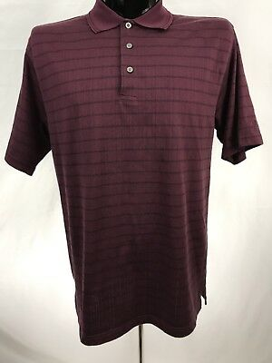 Maroon Striped Performance Polo - Grand Slam mens shirt golf casual polo performance cotton polyester maroon s/s L