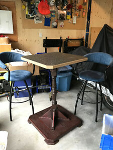 Custom built bar table and two chairs