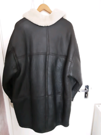 Mens leather and sheepskin coat