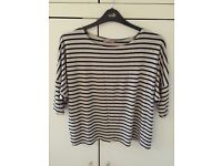 Striped slouchy tee, size 14